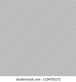 Black and white simple diagonal straight pinstripes, narrow streaks seamless repeat background, pattern. Oblique, tilted lines, inclined fine stripes, bars. Hatching template. Striped dynamic texture.