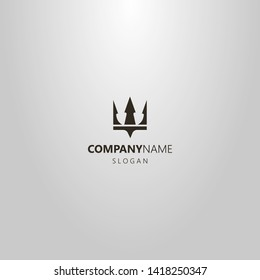 black and white simple flat art vector logo of crown or trident Poseidon