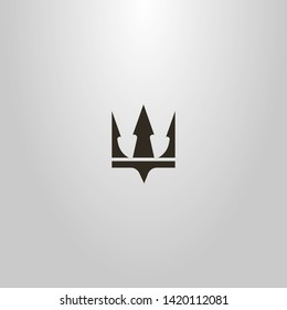 black and white simple flat art vector sign of crown or trident Poseidon