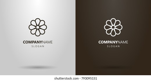 black and white simple flat art vector line art camomile flower logo