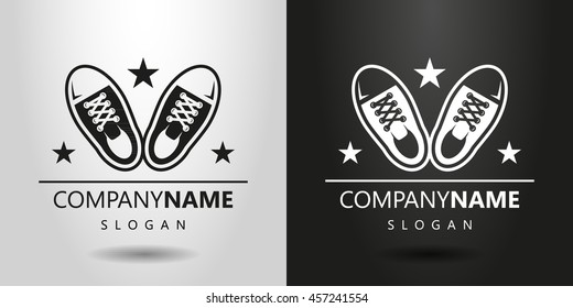 black and white simple flat logo with a pair of sneakers