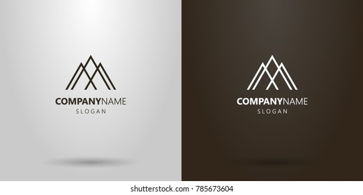 black and white simple geometric vector line art logo of three mountain peaks