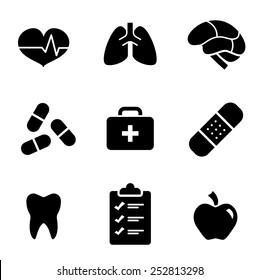 Black and White Simple Health Care Icons