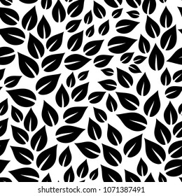 Black and white simple leaves seamless pattern, vector