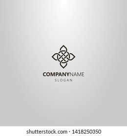 black and white simple line art vector logo of cruciform element of celtic ornament
