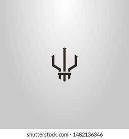 black and white simple line art geometric vector outline sign of trident Poseidon