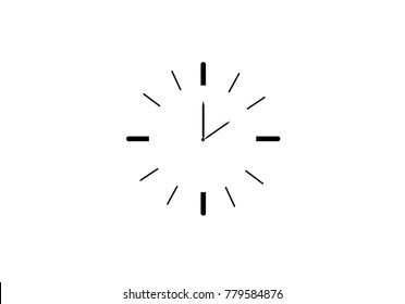 Black and white Simple Line clock icon. Outline time vector