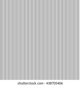Black and white simple pinstripes vector seamless texture. Thin black stripes pattern. Striped monochrome abstract background. Straight lines on white backdrop. Narrow bars, streaks template.