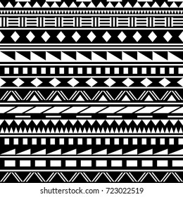 Black and white simple shapes ethnic african striped seamless pattern, vector