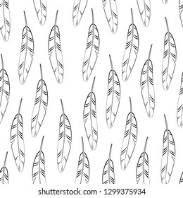Black and white simple striped feathers seamless pattern, vector