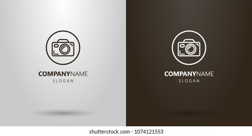 Black and white simple vector camera logo in the round frame