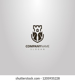 black and white simple vector flat art logo of two chess knights and castle tower behind them