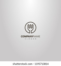 black and white simple vector isolated logo of line art kitchen fork in a round frame