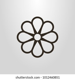 black and white simple vector line art camomile flower symbol