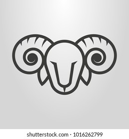 Black and white simple vector line art symbol of ram head