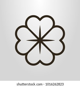 Black and white simple vector line art  symbol of four-leafed clover flower