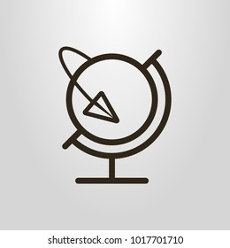 Black and white simple vector line art symbol of the globe and paper airplane