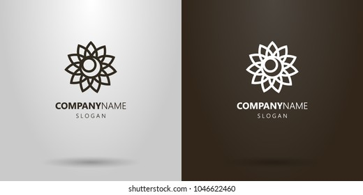black and white simple vector line art flower bud logo with moon in the middle