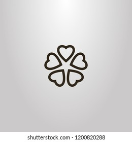 black and white simple vector line art sign of five heart-shaped petals flower