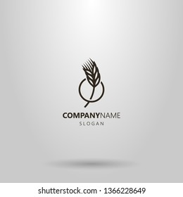 black and white simple vector line art logo of a wheat spikelet in a round frame