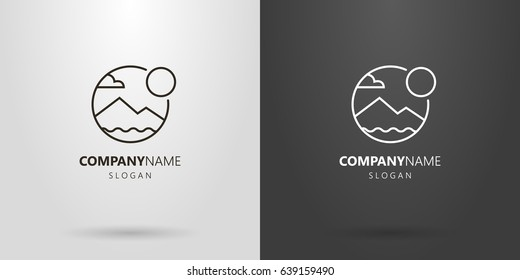 Black and white simple vector line art mountain landscape logo