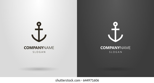 Black and white simple vector line art anchor logo