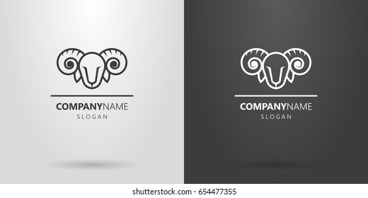 Black and white simple vector line art ram head logo