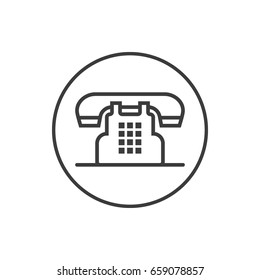 Black and white simple vector line art icon of old phone in the round frame