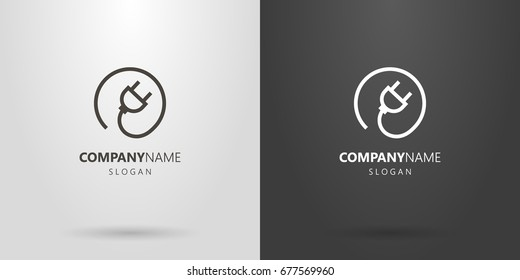 Black and white simple vector line art electric plug logo in a round frame
