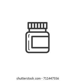 black and white simple vector line art outline icon of a vial with tablets or ointment