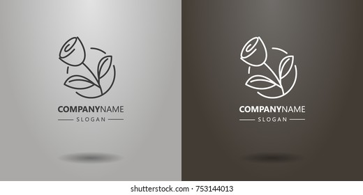 black and white simple vector line art rose logo in a round frame