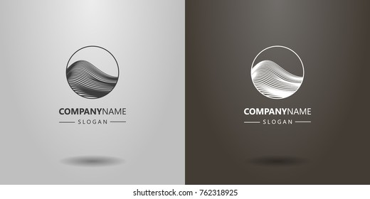 black and white simple vector line art abstract mountain or wave logo in a round frame