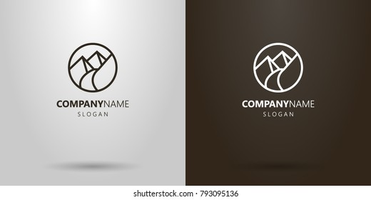 black and white simple vector line art round logo of the footpath in the mountains