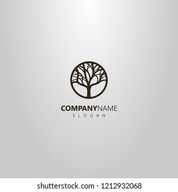 black and white simple vector logo of deciduous tree in a round frame