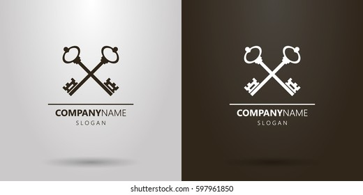 Black and white simple vector logo of two crossed keys