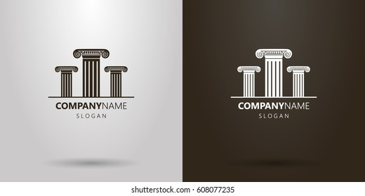 Black and white simple vector logo of  three Roman columns