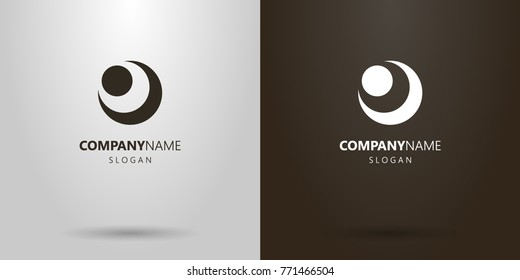 black and white simple vector logo of the abstract figure of the moon and sun