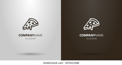 Black and white simple vector pizza slice logo