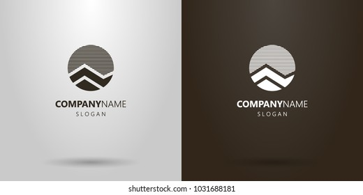 black and white simple vector round abstract mountain landscape logo