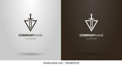 black and white simple vector sword logo cutting into a triangle