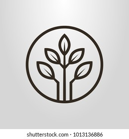 black and white simple vector symbol of three branches with leaves in a round frame