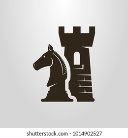 Black and white simple vector symbol of chess pieces