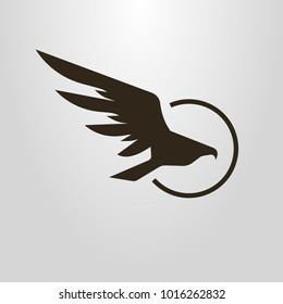 Black and white simple vector symbol of flight hawk