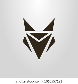 Black and white simple vector symbol of an geometric abstract fox head
