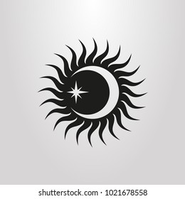 black and white simple vector symbol of sun rays, moon and star