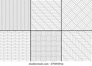Black and white simple wooden parquet floor set - herringbone, stripes, squares seamless patterns, vector collection
