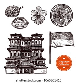 Black and white singapore hand drawn sketch set with symbols traditional food and famous sights isolated vector illustration