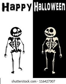 Black and White Skeleton. Happy Halloween