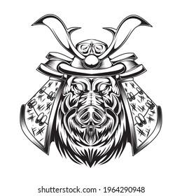black and white skeleton with samurai pig illustration