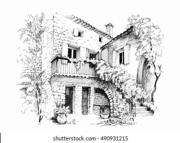 Black and white sketch cityscape with houses vector illustration.